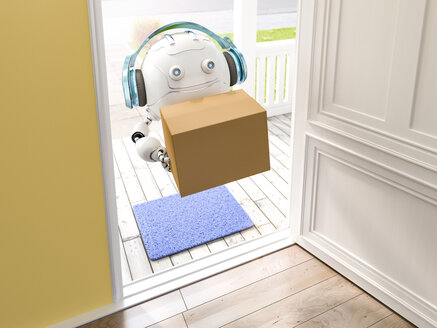 3D rendering, Little drone with headphones delivering parcel - AHUF00524