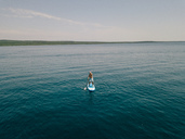 Croatia, Cres, Adriatic Sea, Stand up paddle surfing - DAWF00701