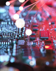 Inside a laptop computer, mother board and electronic components - ABRF00220