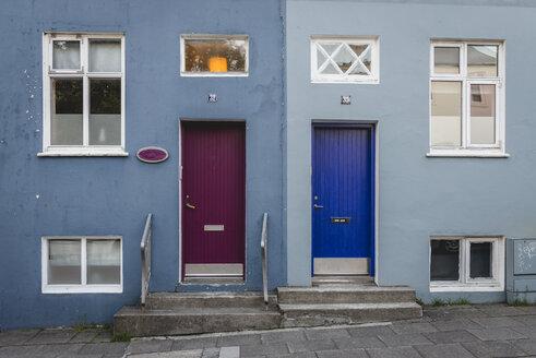 Iceland, Reykjavík, house facade, colorful doors - KEBF00894