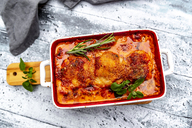 Tuscan pork fillet in gratin dish from above - SARF03906