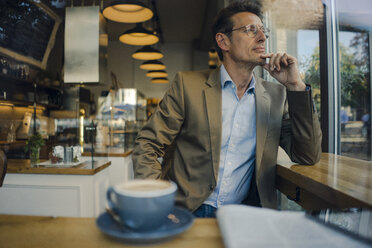 Mature businessman sitting in coffee shop, smiling - GUSF01171