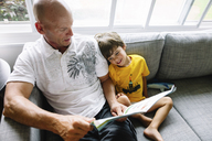 High angle view of bald man and young boy with brown hair sitting side by side on a sofa, reading. - MINF08616