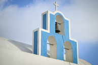 Traditional blue bell tower of church on the island of Santorini, Greece. - MINF08643