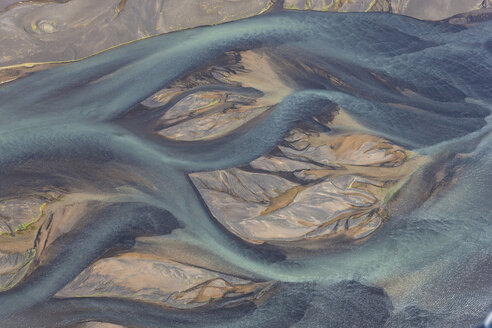 Aerial view of landscape with river coloured by glacial melt. - MINF08810