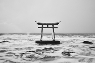 Traditional wooden torii gate in the ocean, Shosanbetsu Konpira Shrine. - MINF08867