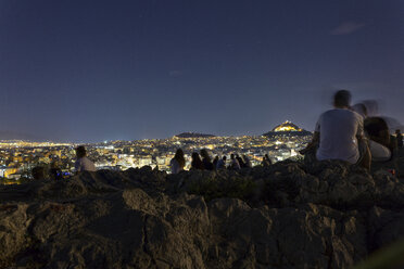 Greece, Athens, Areopagus and people at night - MAMF00204