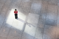 Looking down on a mixed race Caucasian woman in a business centre lobby. - MINF08969
