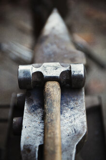 Hammer and small anvil, tools of the farrier's trade. - MINF09017