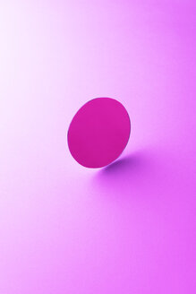 Round shaped mirror on pink ground, 3D Rendering - DRBF00070