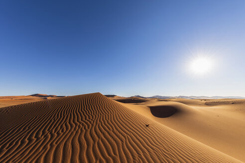Africa, Namibia, Namib desert, Naukluft National Park, sand dunes against the sun - FOF10095