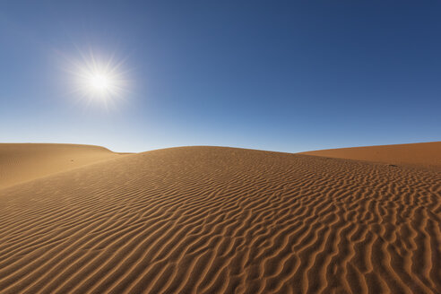 Africa, Namibia, Namib desert, Naukluft National Park, sand dunes against the sun - FOF10098