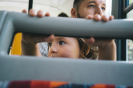 Czechia, Prague, little girl and her father going by bus - GEMF02323
