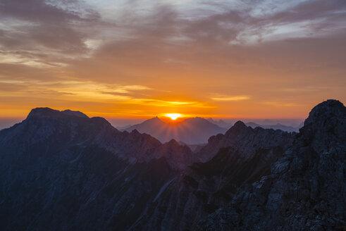 Germany, Bavaria, Allgaeu, Allgaeu Alps, Nebelhorn at sunrise - WGF01224
