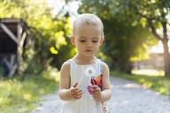 Cute little girl holding blowball outdoors - DIGF05010