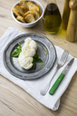 Mozzarella braid and basil on plate - GIOF04236