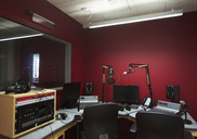 Music recording equipment in sound booth - CAIF21573