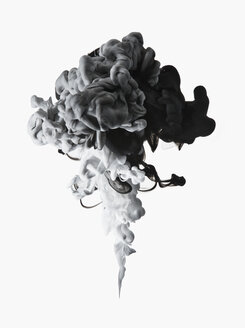 Black, white and gray ink formation on white background - CAIF21687
