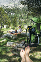 Spain, Family taking a break in nature, resting after a hike - GEMF02346
