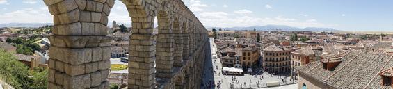 Spain, Castile and Leon, Segovia, Panoramic view of Segovia and aqueduct - JSMF00419