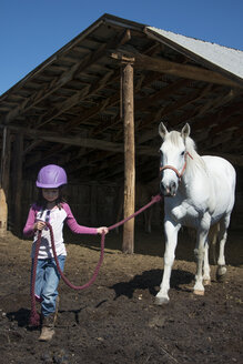A 6-year-old cowgirl leads her horse out of the barn. - AURF01948