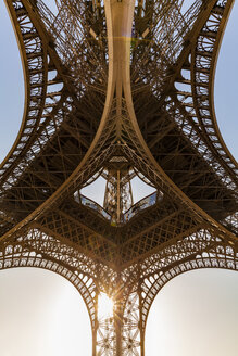 France, Paris, Eiffel Tower, worm's eye view at sunset - WDF04796