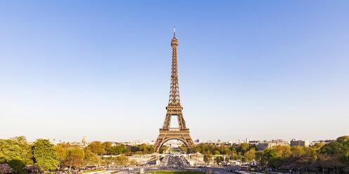 France, Paris, Panoramic view, Place de Varsovie and Eiffel Tower - WDF04799