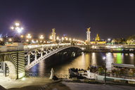 France, Paris, Pont Alexandre III bridge, Seine river at night - WDF04805