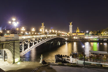 France, Paris, Pont Alexandre III bridge, Seine river at night - WDF04805