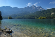 Germany, Upper Bavaria, view to Zugspitze with Lake Eibsee in the foreground - LBF02027
