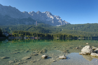Germany, Upper Bavaria, view to Zugspitze with Lake Eibsee in the foreground - LBF02030