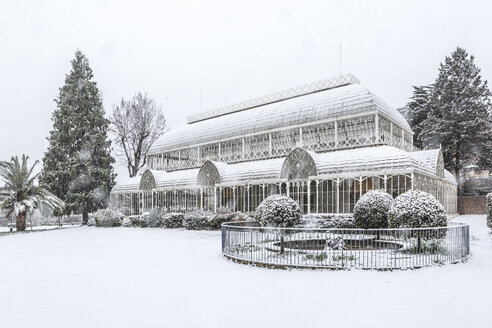 Italy, Florence, snow-covered old greenhouse - MGI00203