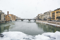 Italy, Florence, view to Ponte Santa Trinita in winter - MGIF00218