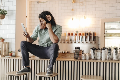 Man wearing monkey mask, sitting on counter of a bar, using digital tablet - GUSF01234