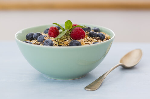 Bowl of muesli with raspberries and blueberries - JUNF01091