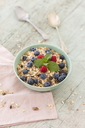 Bowl of muesli with raspberries and blueberries - JUNF01094