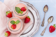 Two glasses of strawberry trifle with mascarpone cream and Amarettini - JUNF01109