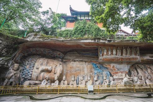 China, Sichuan Province, Dazu Rock Carvings, lying buddha - KKAF01467