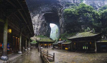 China, Sichuan Province, Wulong Karst, traditional houses, entrance - KKAF01470