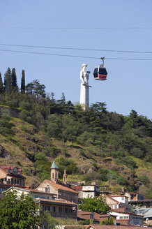 Georgia, Tbilisi, Cable car with Kartlis Deda monument - WWF04273