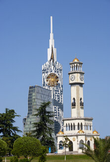 Georgia, Adjara, Batumi, Miracle Park, Chacha Clock Tower and technical university with big wheel in the tower - WWF04351