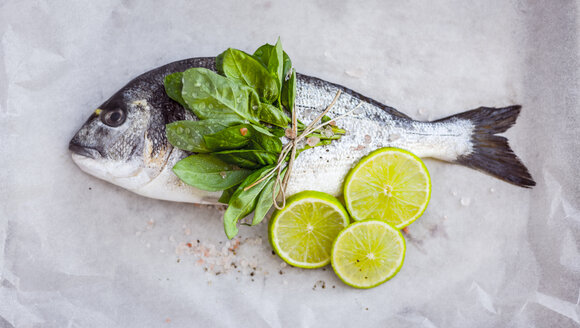 Sea bream with fresh herbs and lime slices - RAMAF00010