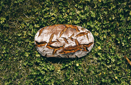 Loaf of brown bread on grass - RAMAF00025