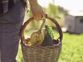 Woman carrying basket of harvested vegetables, partial view - RAMAF00043
