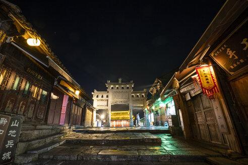 China, Qinyang, Ancient Town, city gate at night - KKAF01517