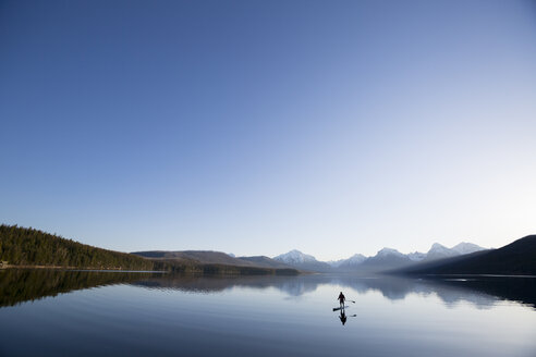 A man stand up paddle boards (SUP) on a calm Lake McDonald in Glacier National Park. - AURF02703