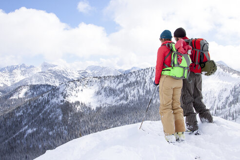 Two backcountry skiers near Ymir, British Columbia. - AURF02799