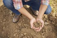 Farmer holding soil in his hands - ABIF00942