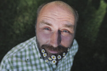 Portrait of mature man with daisies in his beard - KMKF00467