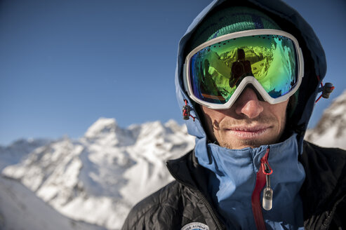 Portrait of an italian Alpine Guide taken during a ski tour on the Alps above Devero. Baceno, Ossola, Italy. - AURF03499
